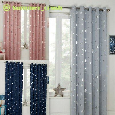 £14.89 • Buy 1pc Galaxy Star Thermal Blackout Curtains Eyelet Ready Made Kids Boys Girls