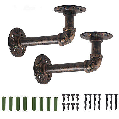 £11.25 • Buy 2PCS Pipe Shelf Brackets Industrial Iron Rustic Shelves Wall Floating Supports