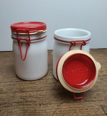 $31.63 • Buy Vintage Pair Of Cerve Storage Canisters White And Red Milk Glass Metal Italy