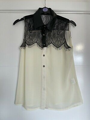 £5 • Buy Hearts And Bows Blouse 12 Black Cream Lace Going Out Work Sheer Chiffon