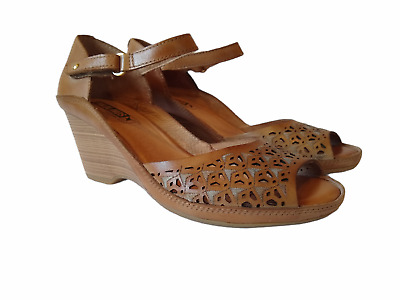£21.81 • Buy Pikolinos Womens Laser Cut Leather Wedge Shoes Ankle Strap Size EU 37 US 6.5