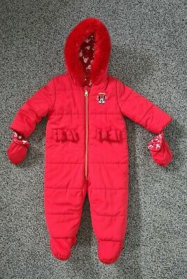 £8 • Buy Girls Minnie Mouse All In One/Snowsuit Size 9-12months Red Detachable Mittens