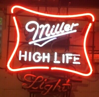 $195 • Buy Vintage MILLER High Life Beer NEON Sign.  Flashes Red / White.  Works Great!
