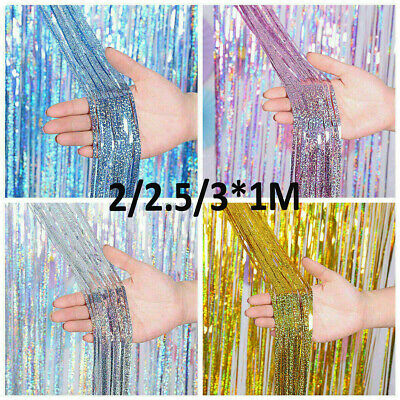 £2.99 • Buy 2M-3M Foil Fringe Tinsel Shimmer Curtain Door Wedding Birthday Party DECORATIONS
