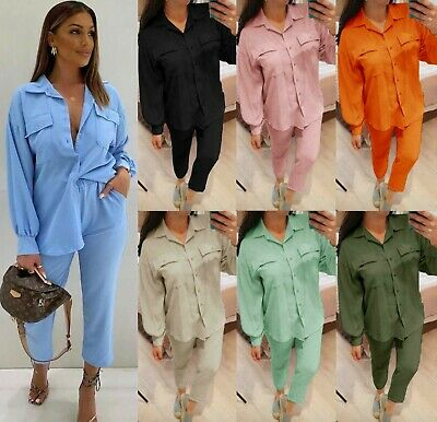 £22.95 • Buy Women's Collared Pockets Oversized Shirt Tapered Trousers Co Ord Loungewear Suit