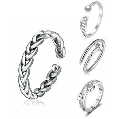 £2.99 • Buy 925 Sterling Silver Adjustable Open Band Thumb Rings Ladies Statement Rings Gift