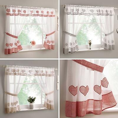 £22.95 • Buy Gingham Kitchen Curtain Sets Amour Heart Ready Made Valance Voile Curtains Pairs