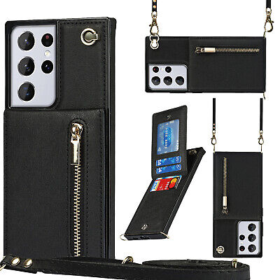 AU19.89 • Buy Crossbody Card Case  With Long Rope Holder Flip Leather Phone Bag Case Cover