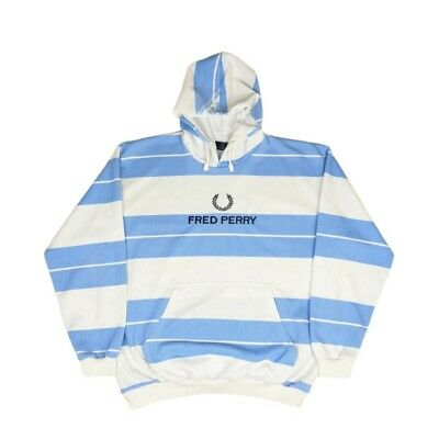 £39.99 • Buy Vintage Fred Perry Hoodie Blue & White Striped - Mens Size Medium