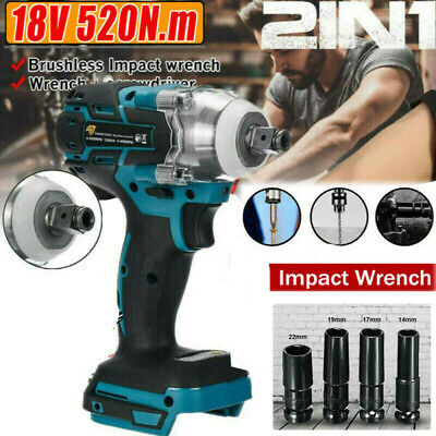 £27.49 • Buy 1/2 18V Electric Cordless Drill Brushless Impact Wrench For MAKITA + 4 Socket