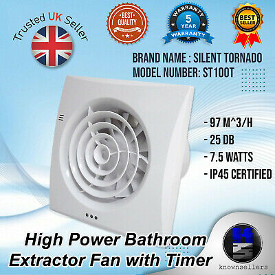 £36.99 • Buy ST100T Silent Tornado Hi-Power Bathroom Extractor Extraction Fan With Timer