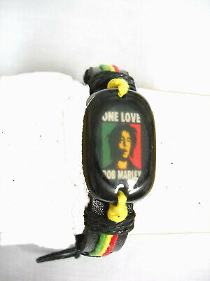 £2.07 • Buy One Love Young Bob Marley Picture Acrylic Medalion Black Leather Adj Bracelet