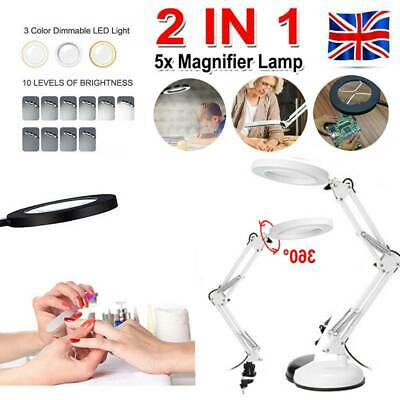 £14.59 • Buy 5x Magnifier Light Lamp Floor Stand Glass Lens Magnifying Salon/spa Beauty
