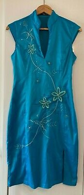 £0.99 • Buy Jane Norman Ladies Womens Turquoise Blue Chinese Style Fitted Midi Dress Uk 12