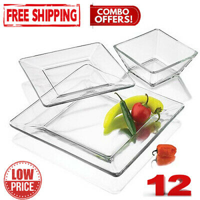 $33 • Buy Mainstays 12-Piece Square Clear Glass Dinnerware Set