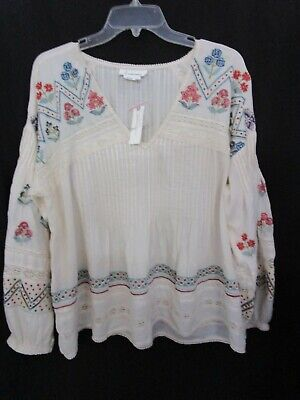 $ CDN50.34 • Buy ANTHROPOLOGIE Embroidery Peasant Blouse Flowing Tunic Size L NWT **SHIPS FREE**