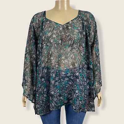£29.37 • Buy Nicole Richie Floral Print Blouse Shirt Trumpet Sleeve Sheer Polyester 3X PLUS