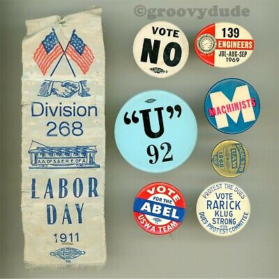 $8.75 • Buy  Engineers Machinists Railway Labor Day 1911 Union Pin Pinback Button Ribbon Lot