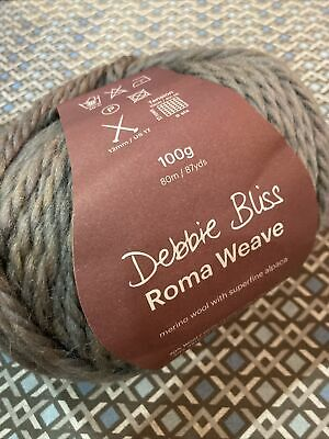 £6.99 • Buy Debbie Bliss Roma Weave Knitting Yarn.  100g Ball In Shade #12 Pewter (grey Mix)