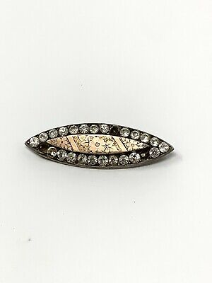 £0.99 • Buy Antique Victorian C1900 Sterling Silver 925 & Gold White Paste Brooch #555