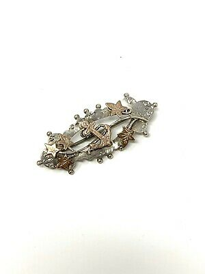 £10 • Buy Very Clean Antique Victorian Sterling Silver 925 & Gold Anchor Brooch #584
