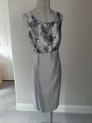 £20 • Buy Special Occasion Silver Jacquard Dress By Roman Size 16 BNWT Rrp £35