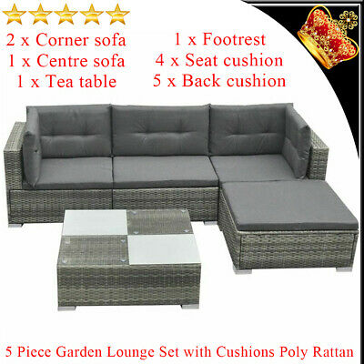 AU560.99 • Buy Outdoor Furniture 14 Pieces Patio Garden Lounge Set Poly Rattan Couch Sofa Grey