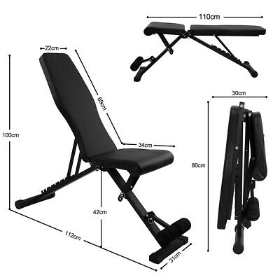 £17 • Buy Weight Bench Gym Workout Flat Incline Decline Sit Up Lifting Barbell Adjustable