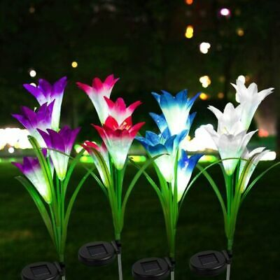 £8.99 • Buy 4 LED Solar Power Lily Flower Stake Lights Outdoor Garden Path Luminous Lamps UK