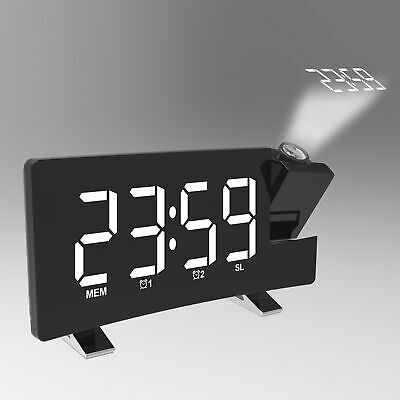 £15.93 • Buy LCD Digital LED Projector Projection FM Radio Snooze Alarm Clock Dimmer K2T7