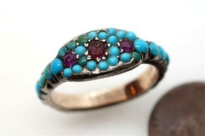 £469.04 • Buy ANTIQUE GEORGIAN ENGLISH SILVER & GOLD RUBY TURQUOISE ETERNITY RING C1820