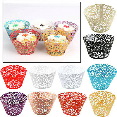 £3.29 • Buy Lace Laser Cut Cupcake Wrapper Wraps Cases Filigree Vine Muffin Birthday Wedding