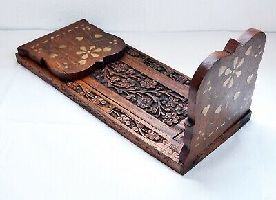 £3.20 • Buy Lovely Vintage Carved Wooden Expanding Bookslide / Book Stand - Brass Inlaid