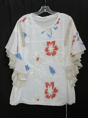 $ CDN31.46 • Buy ANTHROPOLOGIE TINY Floral  Embroidery Blouse Flutter Sleeve Top Sz XL SHIPS FREE