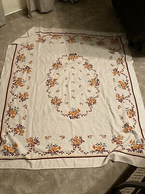 $ CDN10.06 • Buy Vintage Printed Linen 48  X 52  TABLECLOTH Floral Pattern Earth Tones