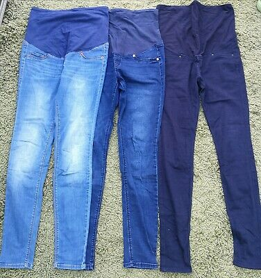 £5.50 • Buy 3 X H&M Over The Bump Maternity Super Skinny Jeans Bundle Size 12 Black And Blue