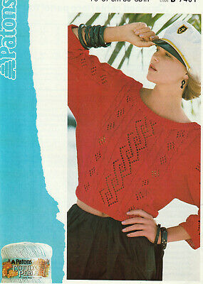 £2.95 • Buy PATONS Knitting Pattern Lady's Cropped Cable/Lace Top 30 - 38  Cotton DK 7401