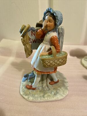 $ CDN6.29 • Buy Cute Norman Rockwell Girl Figurine  No Swimming  From The Gift World Of Gorham