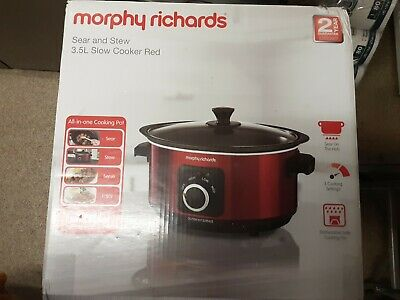 £27.99 • Buy Morphy Richards 3.5L Slow Cooker Red  (Sear & Stew)