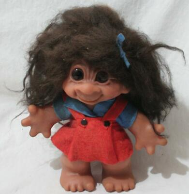 £27 • Buy Antique Vintage 1960s Thomas Dam Troll - 9  In Height - Girl In Pinafore