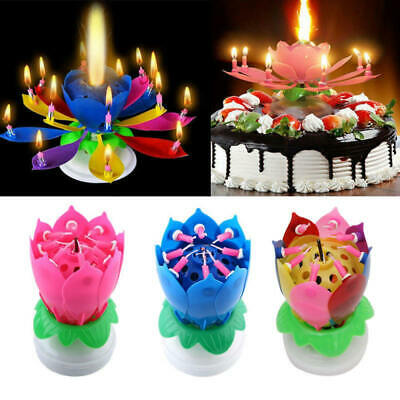 $ CDN14.80 • Buy 14pcs Candle Lotus Flower Rotating Happy Birthday Musical Candle For Birthdays