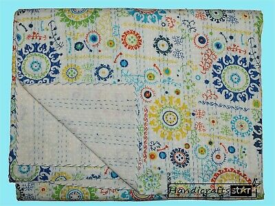 £38.47 • Buy Cotton Kantha Quilts Bedspread Queen Size Blanket Indian Handmade Coverlet Throw