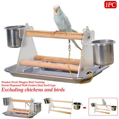 £11.87 • Buy Parrot Playstand Wooden Perch With Feeders Playpen Household Bird Training Toy