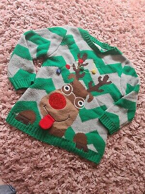 £0.99 • Buy Childs Christmas Jumper 3 To 4 Years Rudolph