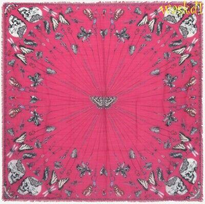 AU298.92 • Buy ALEXANDER MCQUEEN Pink TRAPPED IN BELL JAR Modal/wool 54  Scarf NEW Authen $420!