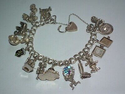 £16 • Buy Superb Vintage C1960 Solid Silver Fully Loaded Charm Bracelet Beautiful Example