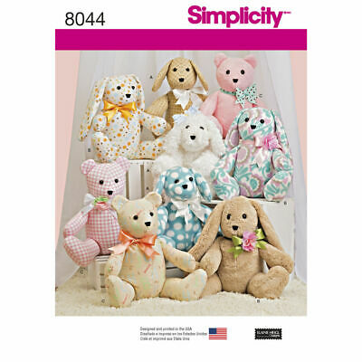 £9.20 • Buy SIMPLICITY Sewing Pattern-8044 Childs Stuffed Toy Animal Bunny Dog Bear