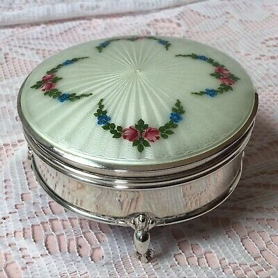 £125 • Buy 1913 Walker & Hall Solid Silver Guilloche Enamelled Jewellery, Ring Box