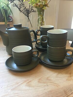 £30 • Buy Denby Olive Chevron Teapot With 5 Cups & Saucers