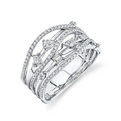 AU2652.33 • Buy 14K White Gold Diamond Crossover Open Cocktail Ring Baguette Round Pear Cut